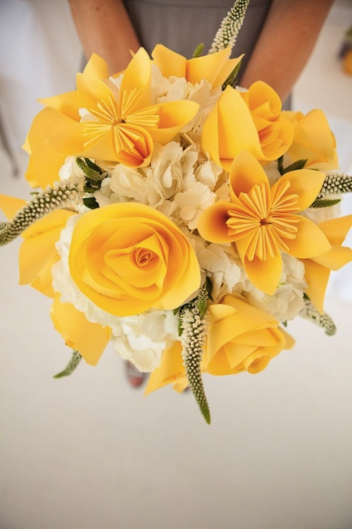 yellow paper bouquet